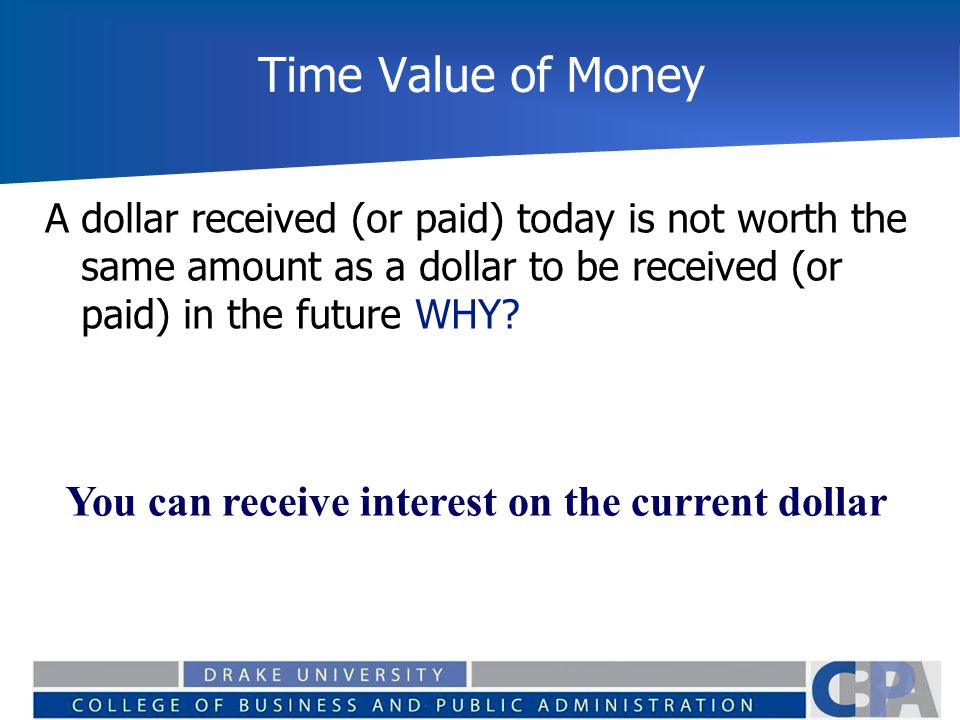 Time Value of Money You can receive interest on the current dollar