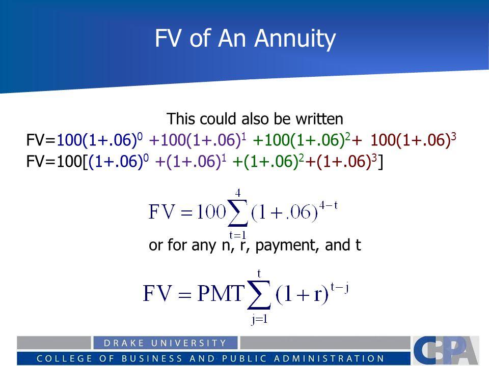 FV of An Annuity FV=100(1+.06)0 +100(1+.06)1 +100(1+.06)2+ 100(1+.06)3