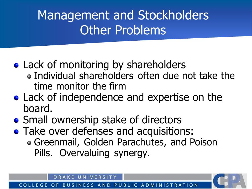 Management and Stockholders Other Problems