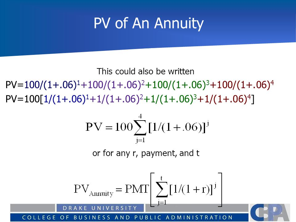 PV of An Annuity This could also be written. PV=100/(1+.06)1+100/(1+.06)2+100/(1+.06)3+100/(1+.06)4.