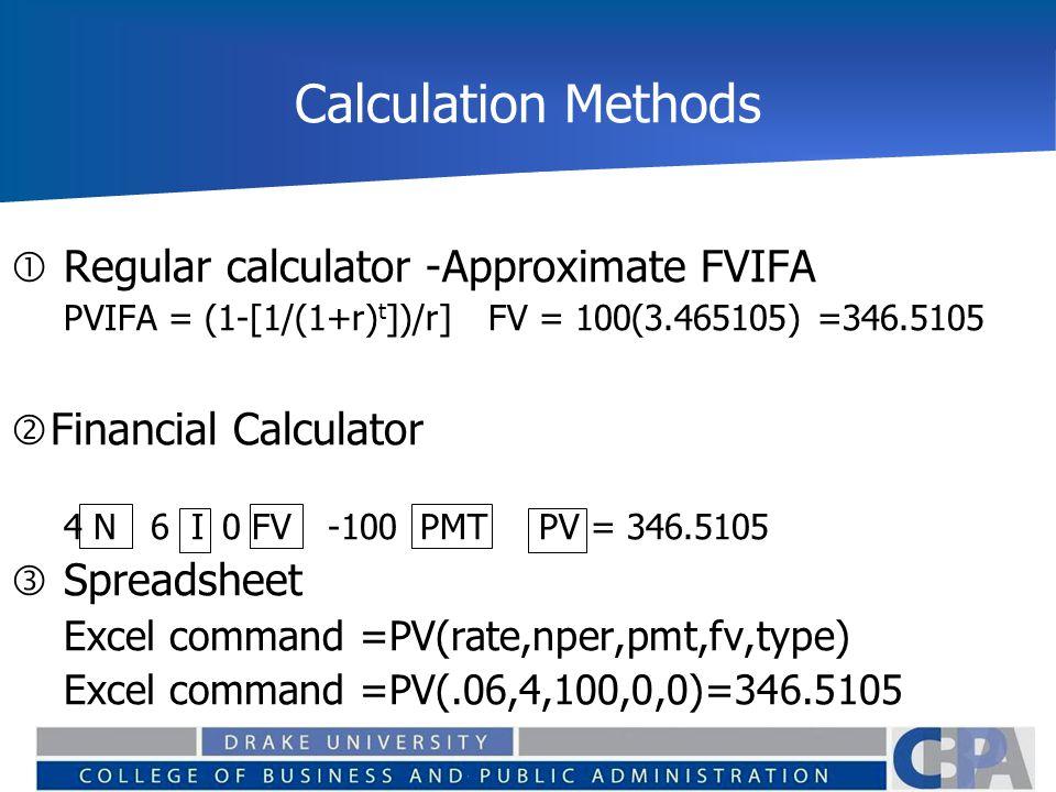 Calculation Methods Regular calculator -Approximate FVIFA
