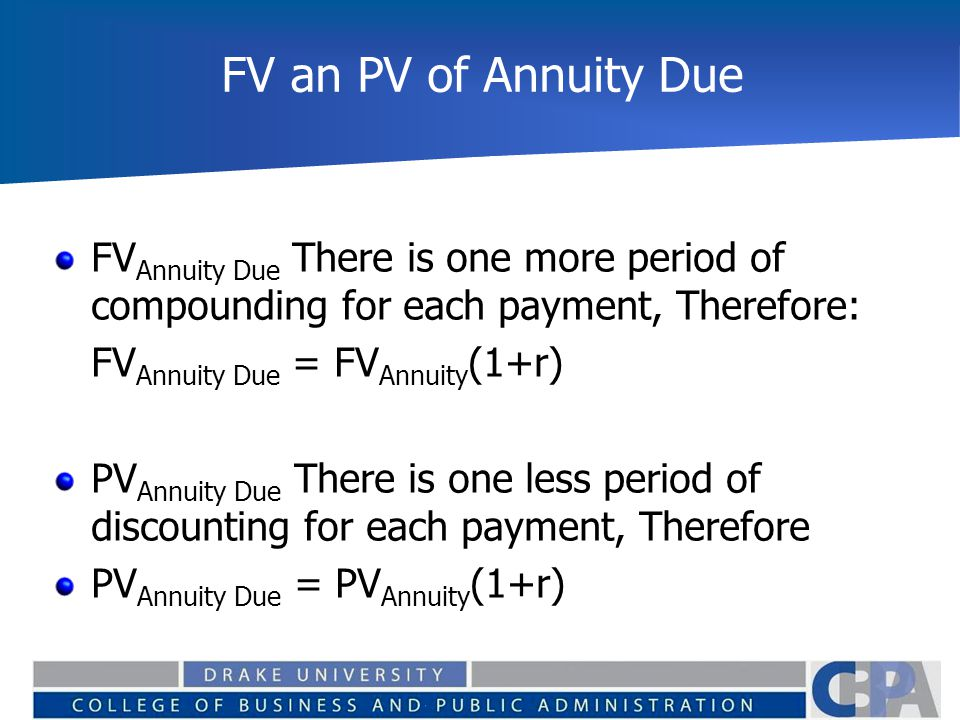 FV an PV of Annuity Due FVAnnuity Due There is one more period of compounding for each payment, Therefore: