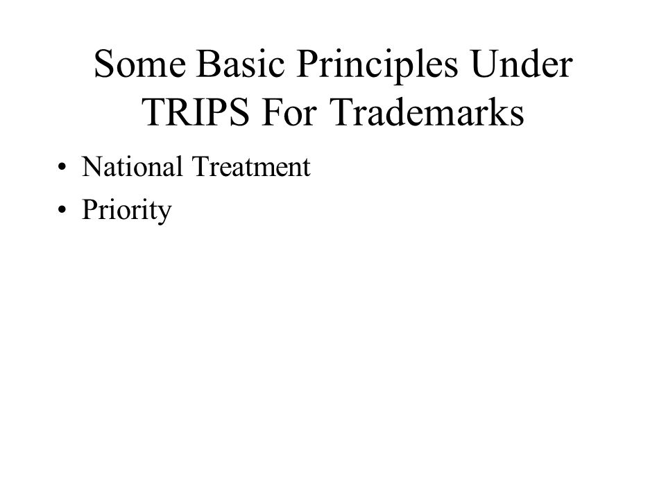 Some Basic Principles Under TRIPS For Trademarks