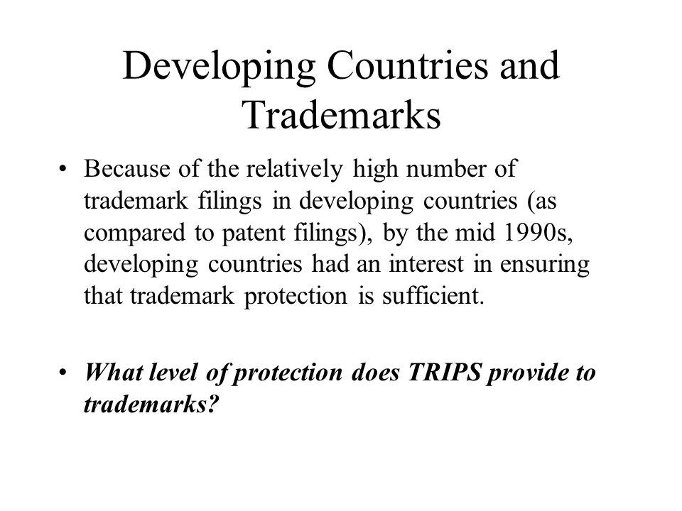 Developing Countries and Trademarks