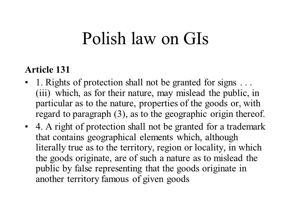 Polish law on GIs Article 131