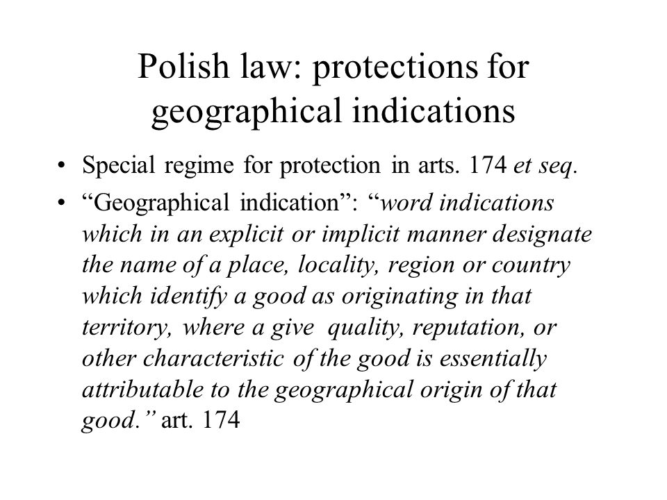 Polish law: protections for geographical indications