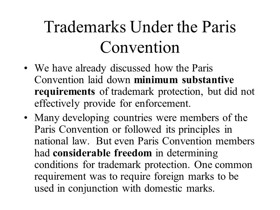Trademarks Under the Paris Convention