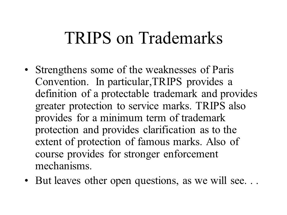 TRIPS on Trademarks