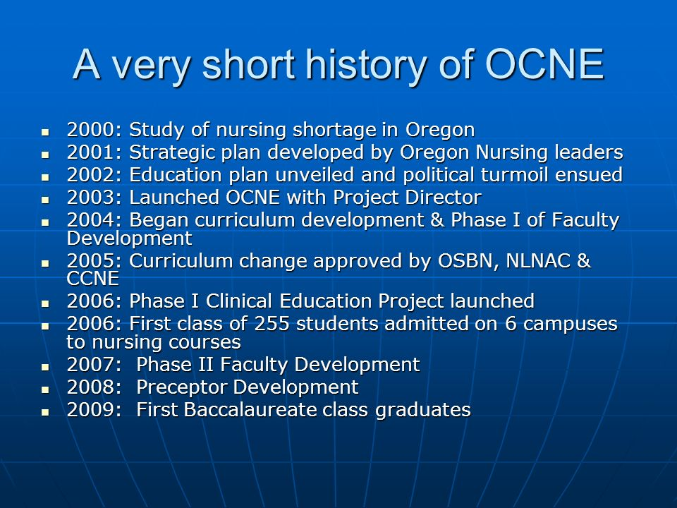 A very short history of OCNE