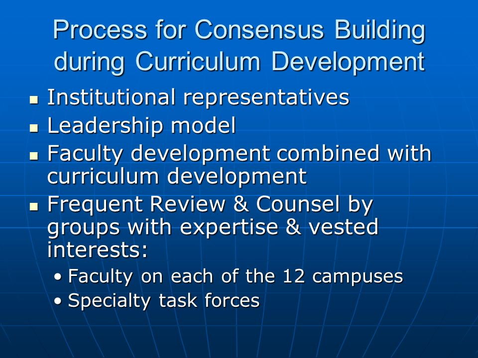 Process for Consensus Building during Curriculum Development