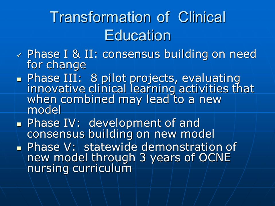 Transformation of Clinical Education