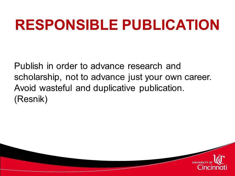 RESPONSIBLE PUBLICATION