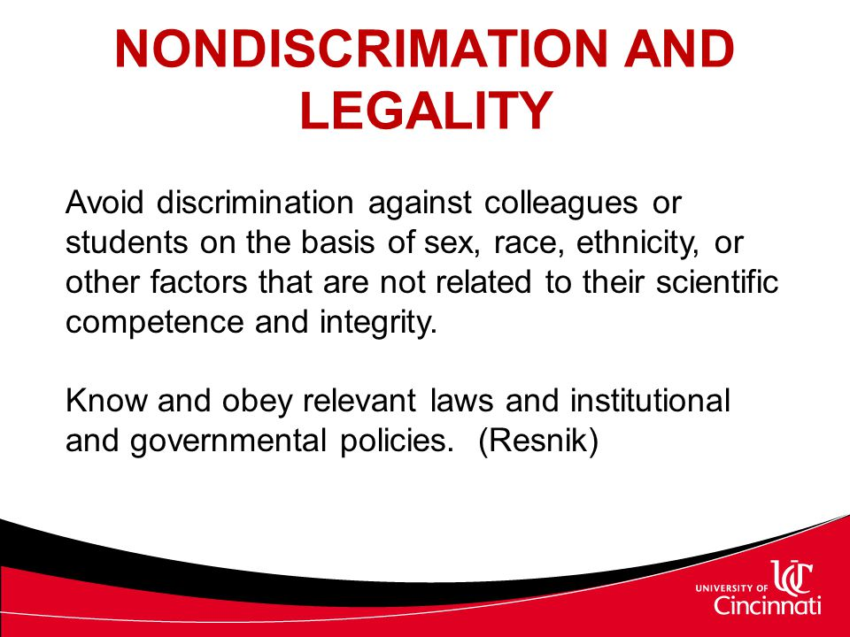 NONDISCRIMATION AND LEGALITY