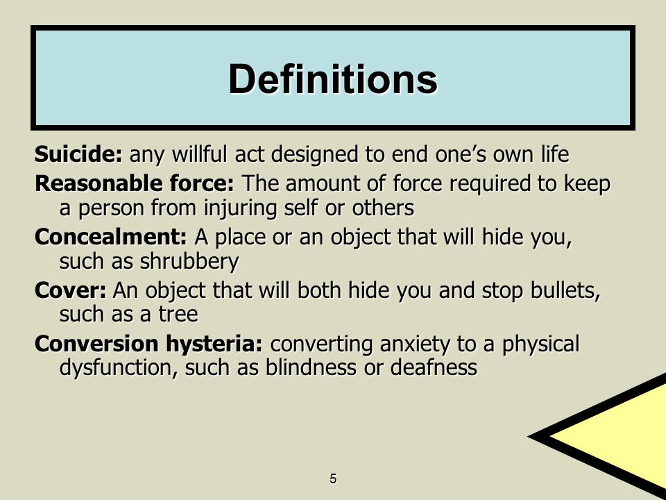 Definitions Suicide: any willful act designed to end one's own life
