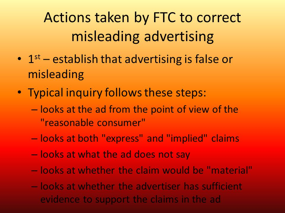 Actions taken by FTC to correct misleading advertising