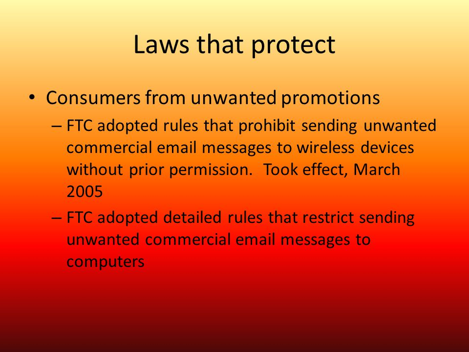 Laws that protect Consumers from unwanted promotions