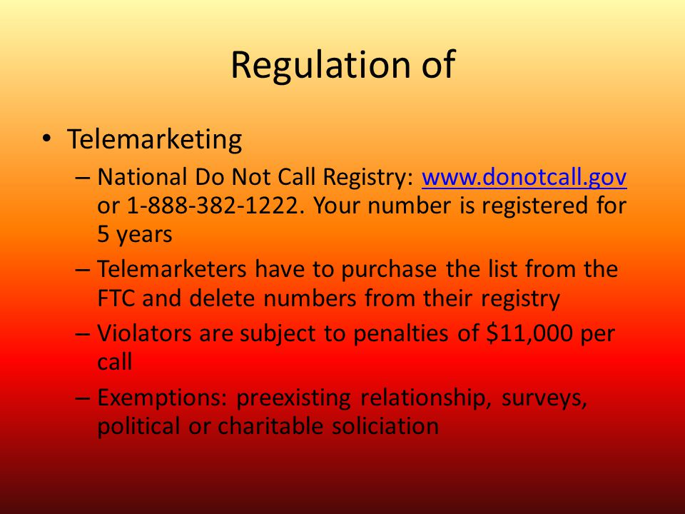 Regulation of Telemarketing
