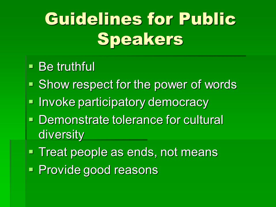 Guidelines for Public Speakers