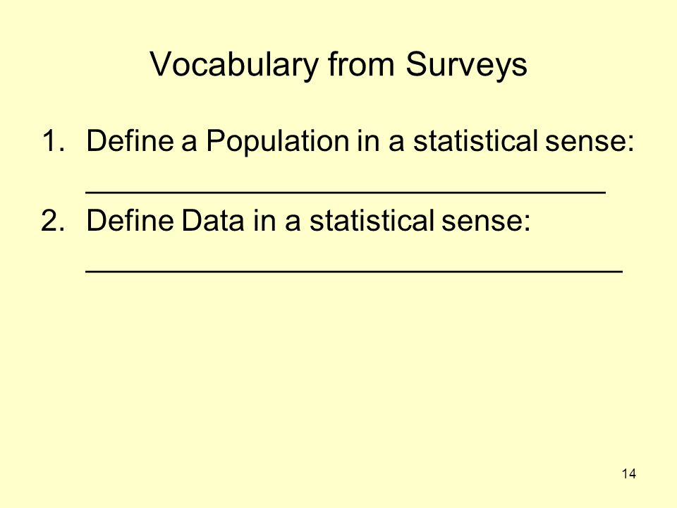 Vocabulary from Surveys