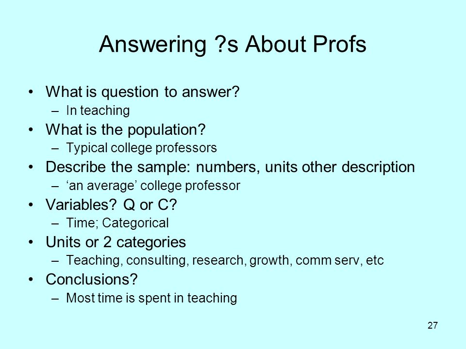 Answering s About Profs
