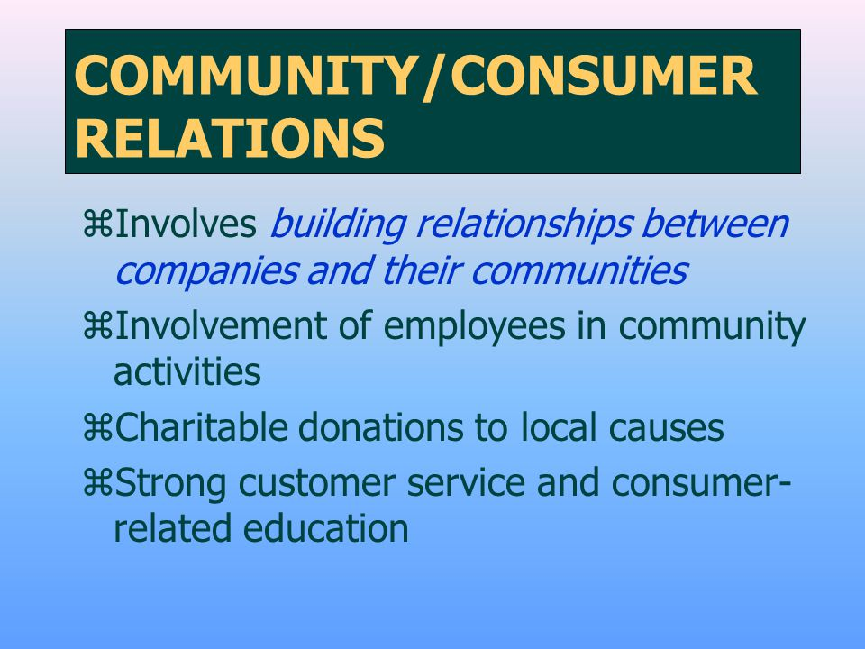 COMMUNITY/CONSUMER RELATIONS