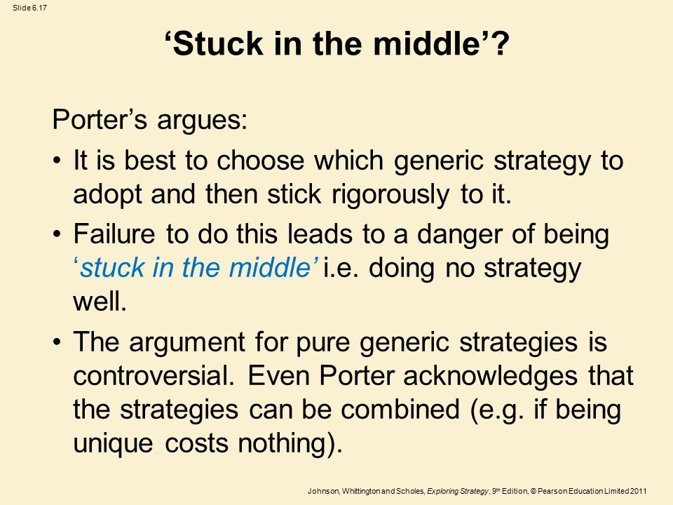 'Stuck in the middle' Porter's argues: