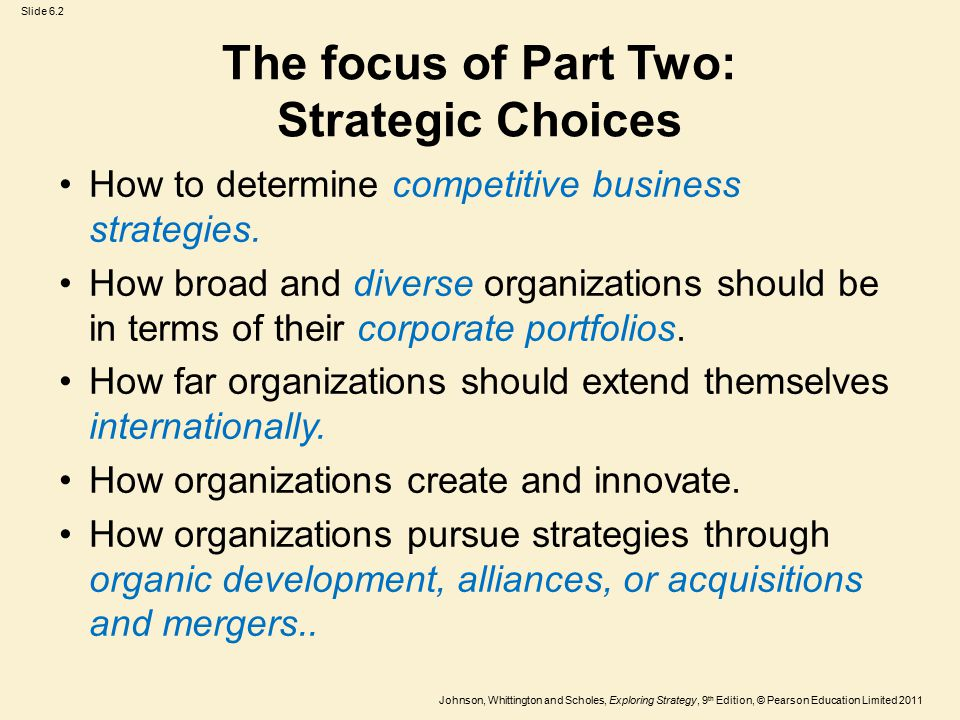 The focus of Part Two: Strategic Choices