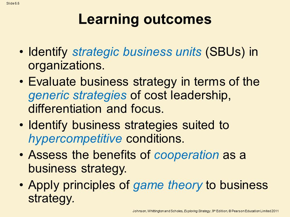 Learning outcomes Identify strategic business units (SBUs) in organizations.