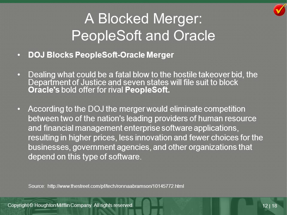 A Blocked Merger: PeopleSoft and Oracle