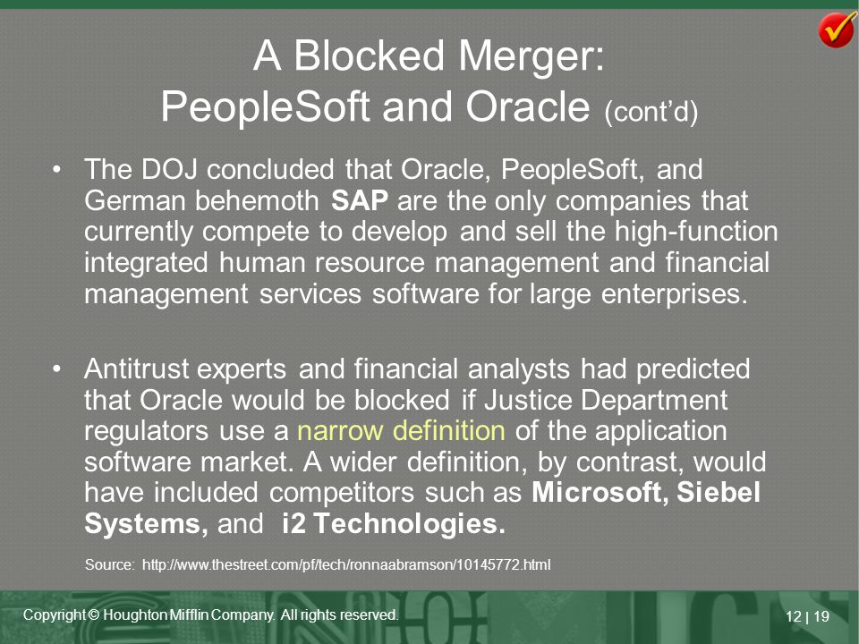A Blocked Merger: PeopleSoft and Oracle (cont'd)