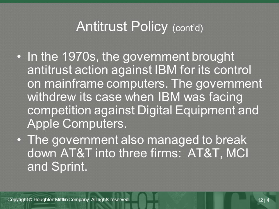 Antitrust Policy (cont'd)