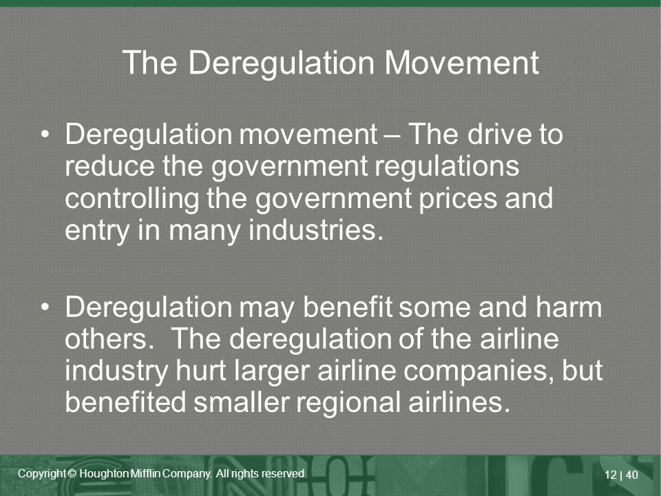 The Deregulation Movement