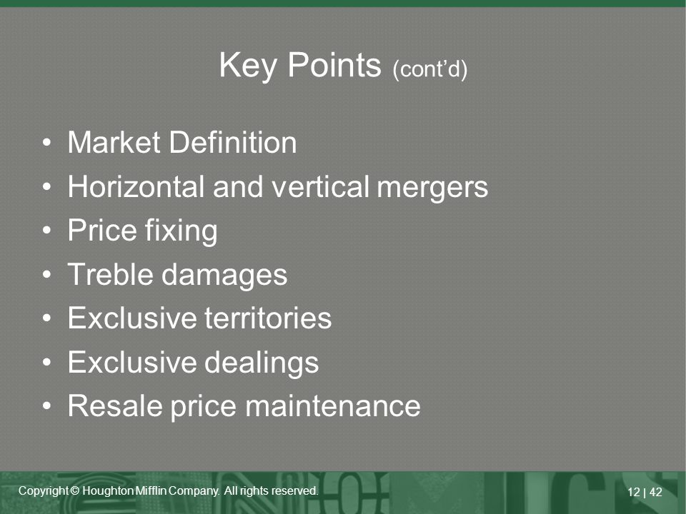 Key Points (cont'd) Market Definition Horizontal and vertical mergers