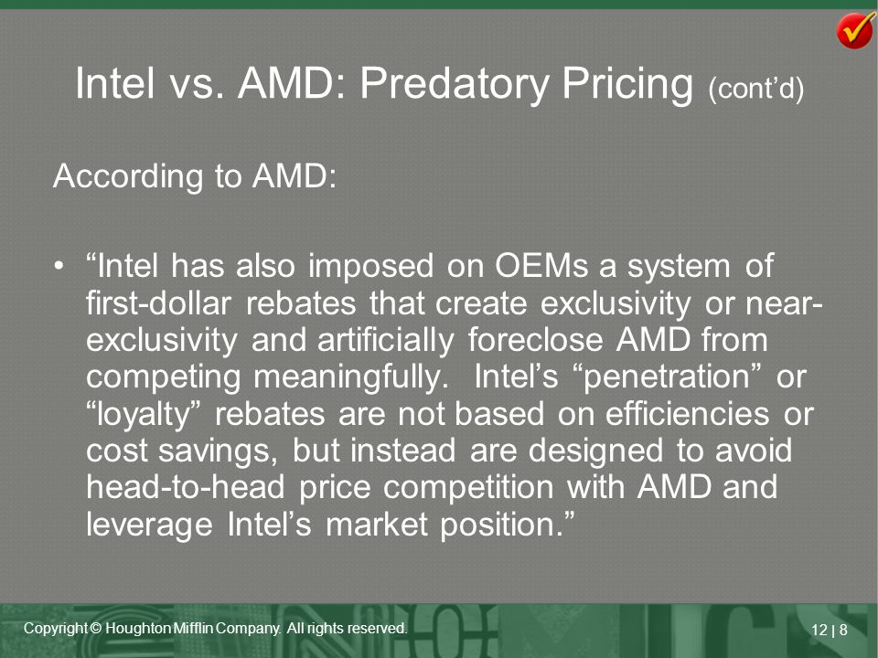 Intel vs. AMD: Predatory Pricing (cont'd)