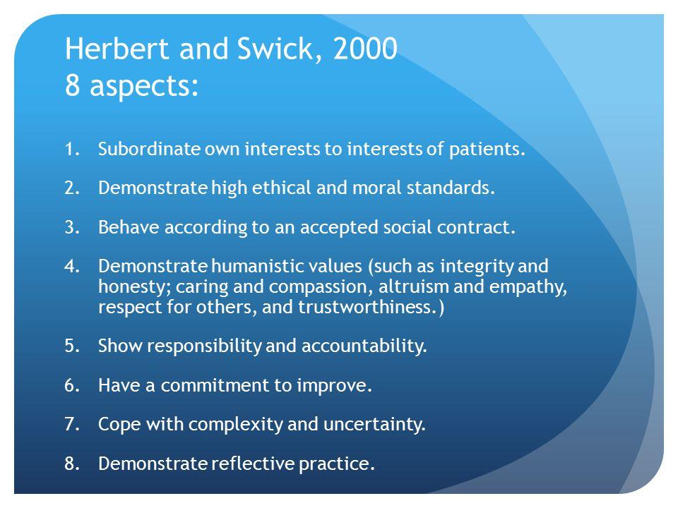 Herbert and Swick, 2000 8 aspects: