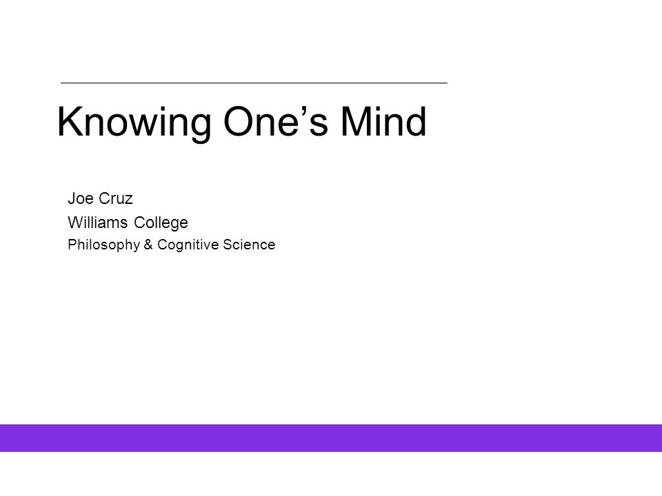 Joe Cruz Williams College Philosophy & Cognitive Science