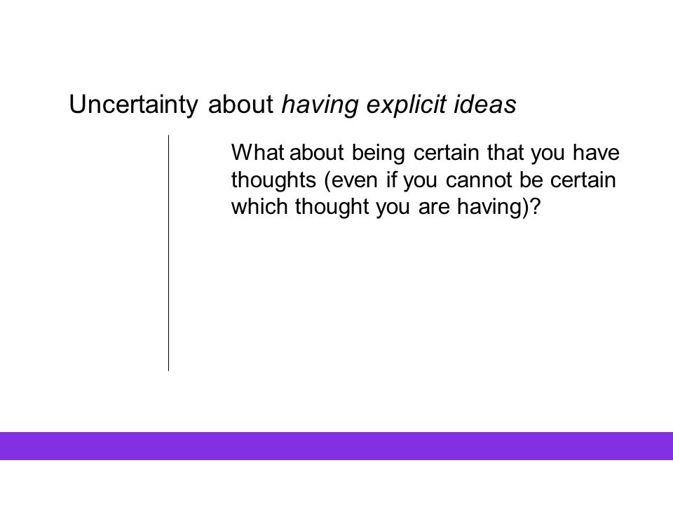 Uncertainty about having explicit ideas