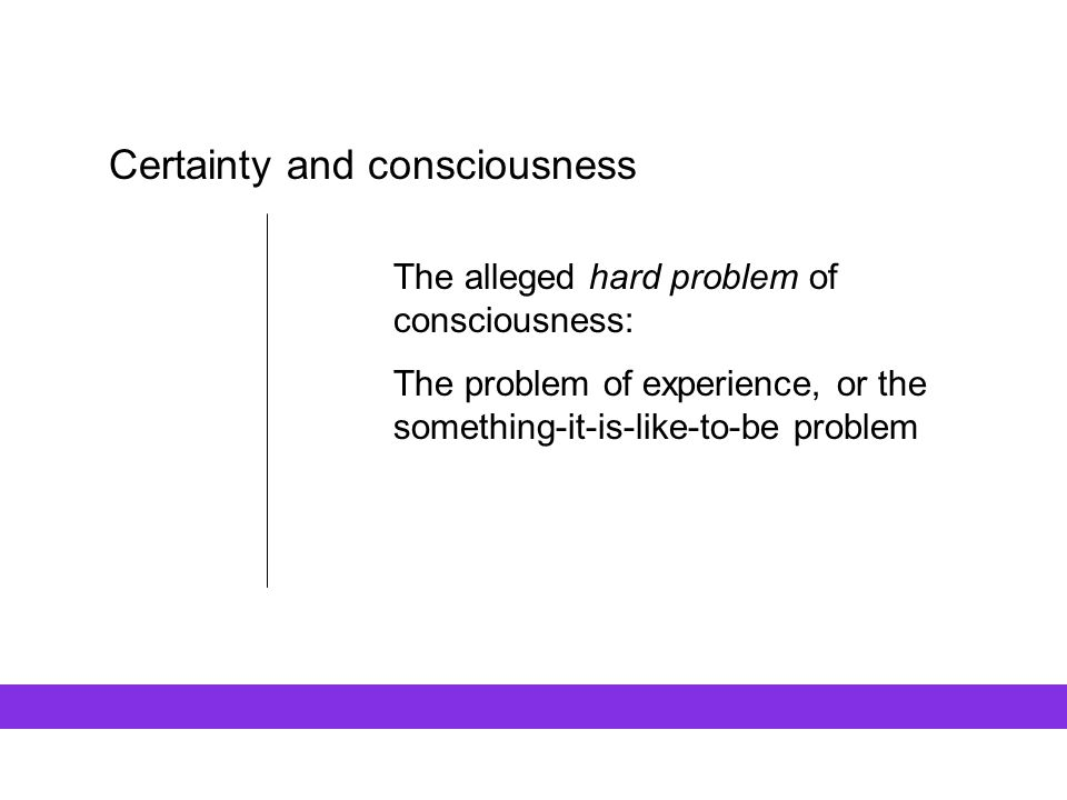 Certainty and consciousness
