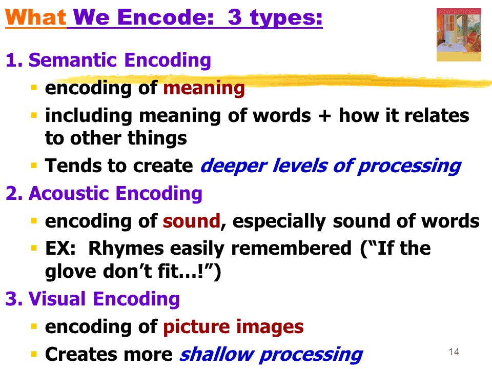 What We Encode: 3 types: 1. Semantic Encoding encoding of meaning