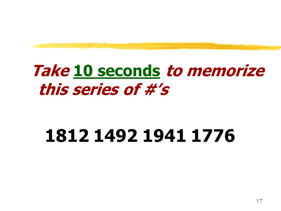 Take 10 seconds to memorize this series of #'s