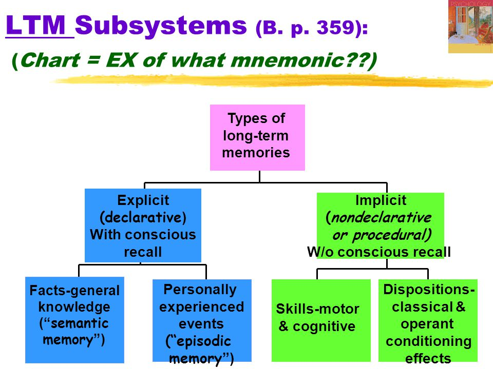 LTM Subsystems (B. p. 359): (Chart = EX of what mnemonic )