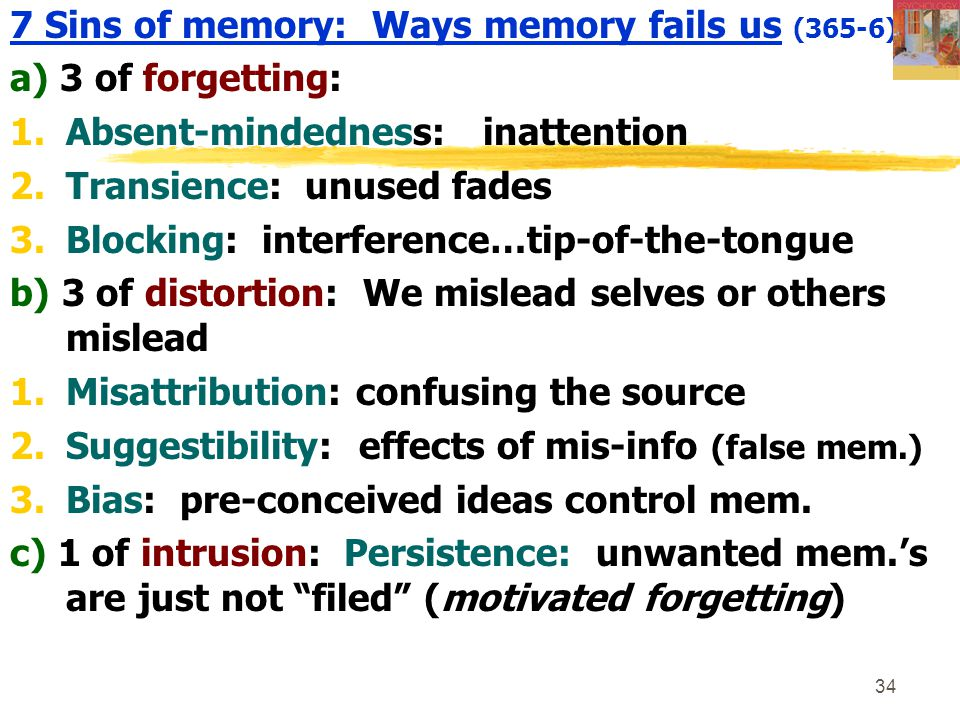 7 Sins of memory: Ways memory fails us (365-6):