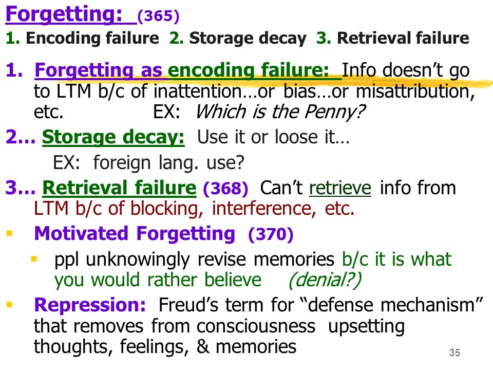 Forgetting: (365) 1. Encoding failure 2. Storage decay 3. Retrieval failure.