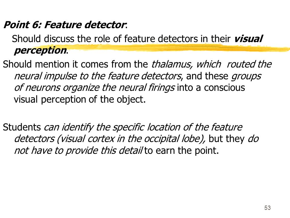 Point 6: Feature detector: