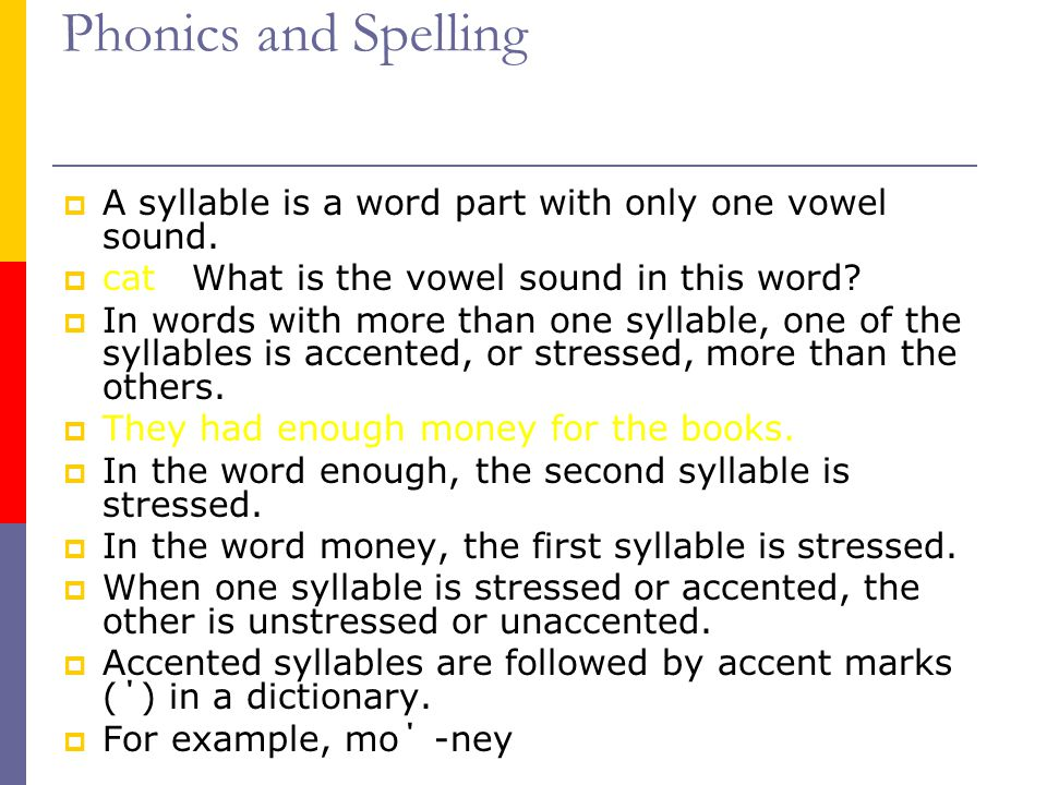 Phonics and Spelling A syllable is a word part with only one vowel sound. cat What is the vowel sound in this word