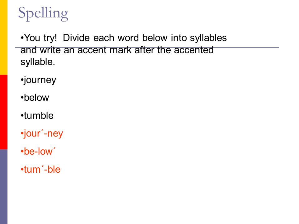 Spelling You try! Divide each word below into syllables and write an accent mark after the accented syllable.