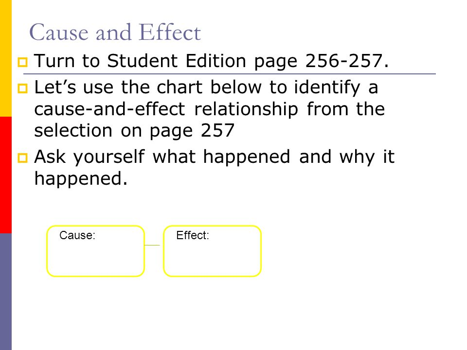 Cause and Effect Turn to Student Edition page 256-257.