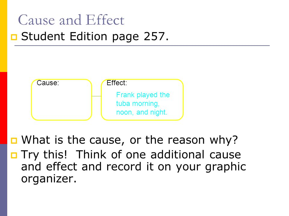 Cause and Effect Student Edition page 257.