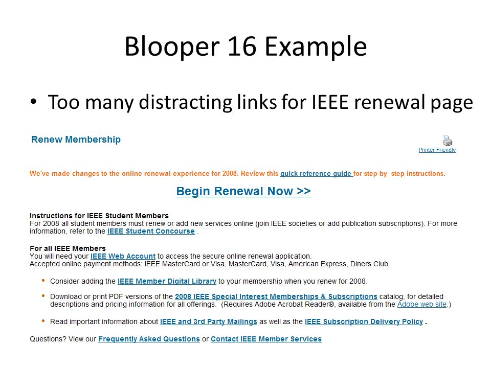 Blooper 16 Example Too many distracting links for IEEE renewal page