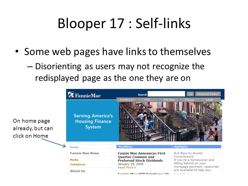 Blooper 17 : Self-links Some web pages have links to themselves